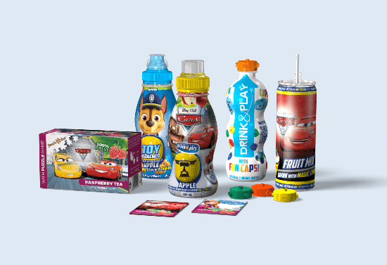 Packaging of soft drinks with toy